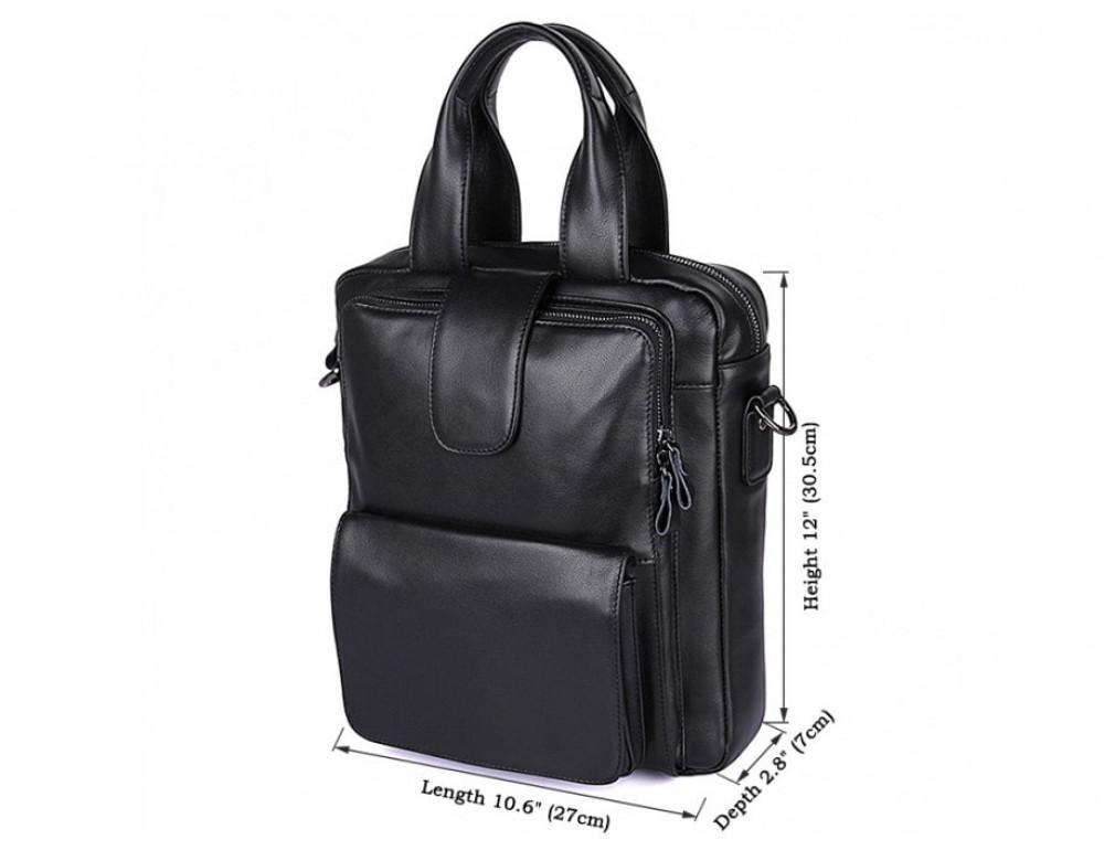 Мужская кожаная сумка-мессенджер TIDING BAG 7266A чёрный - Фото № 8