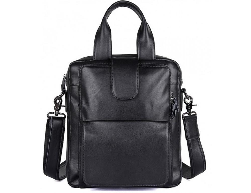 Чоловіча шкіряна сумка-месенджер TIDING BAG 7266A чорний