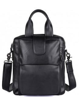 Мужская кожаная сумка-мессенджер TIDING BAG 7266A чёрный