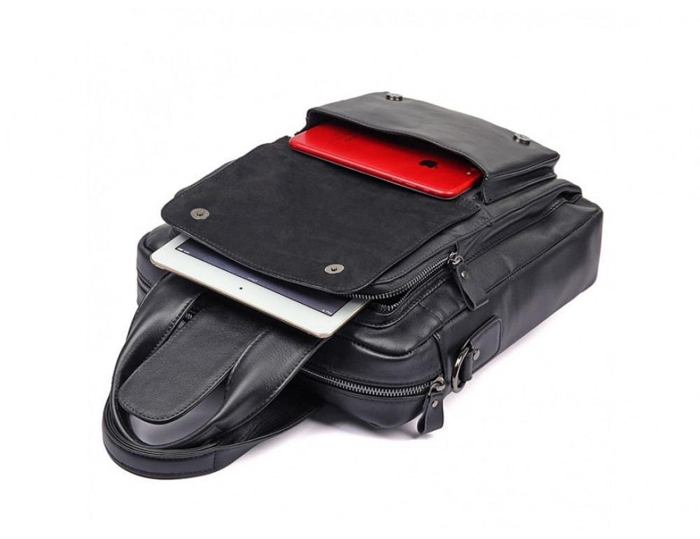 Мужская кожаная сумка-мессенджер TIDING BAG 7266A чёрный - Фото № 4