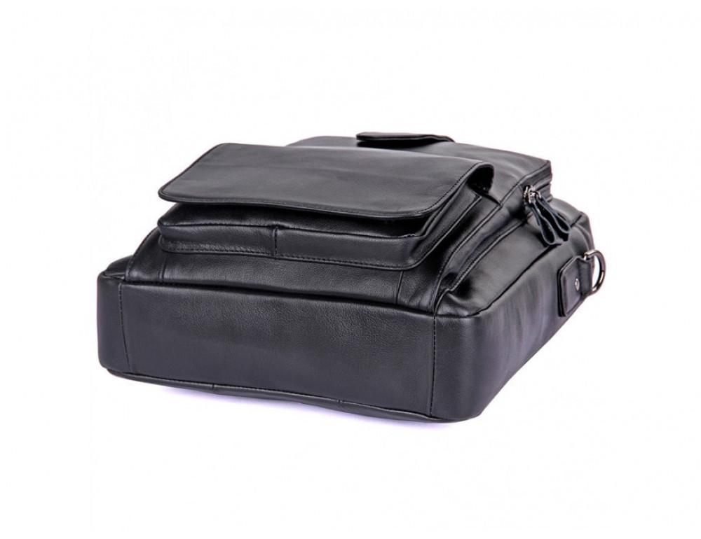 Мужская кожаная сумка-мессенджер TIDING BAG 7266A чёрный - Фото № 5