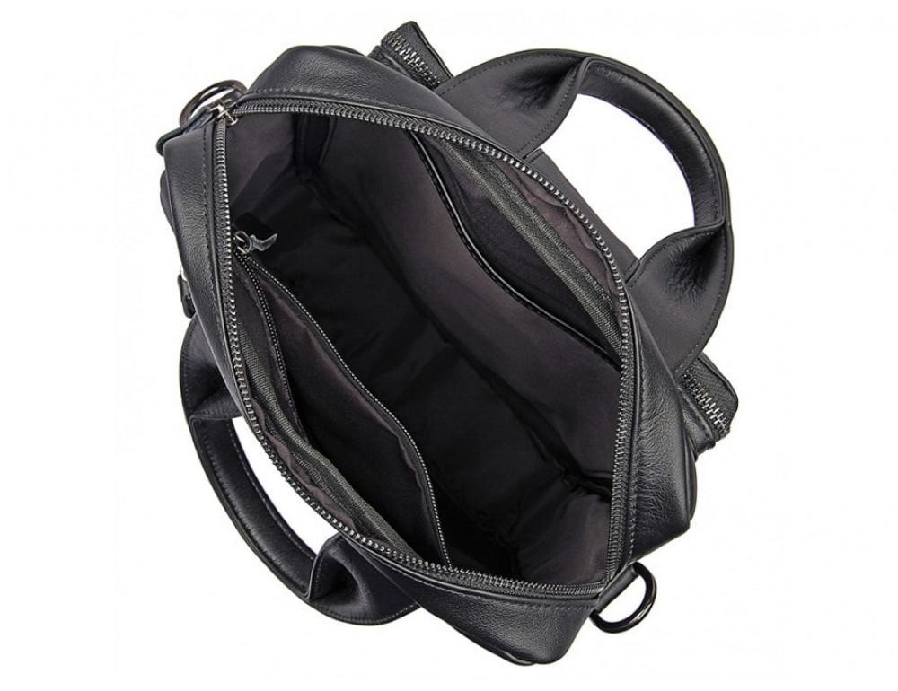 Мужская кожаная сумка-мессенджер TIDING BAG 7266A чёрный - Фото № 6