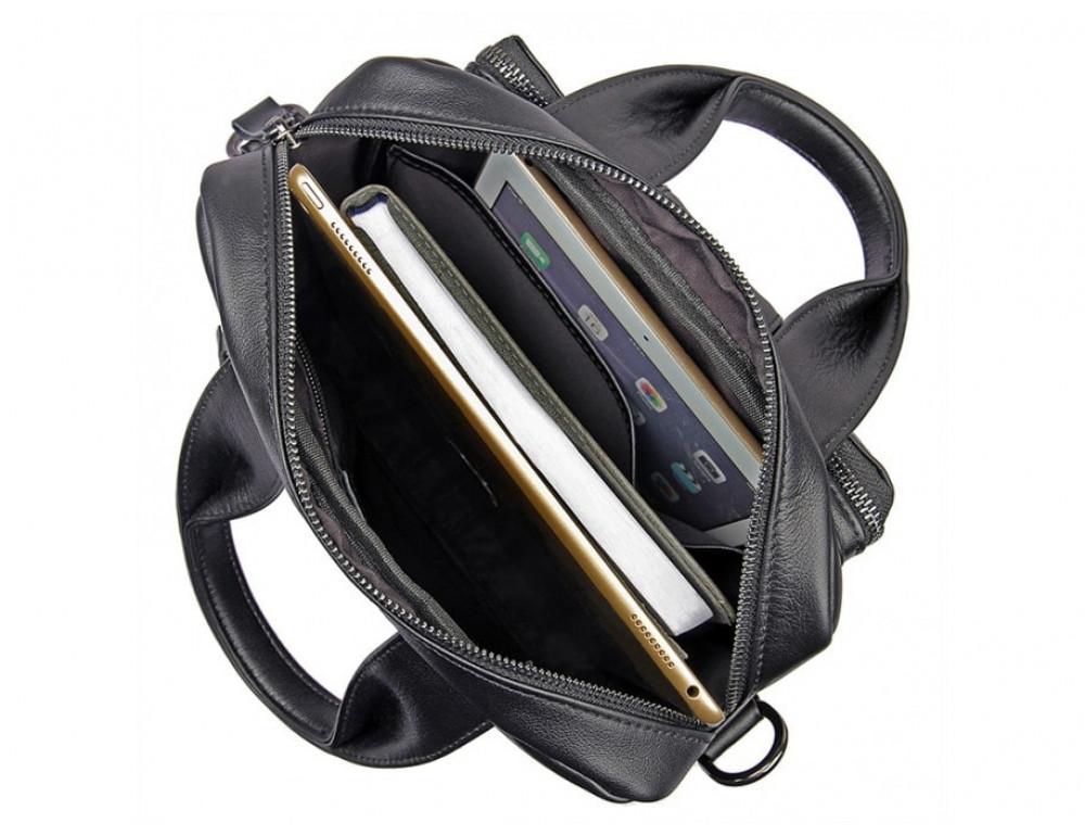 Мужская кожаная сумка-мессенджер TIDING BAG 7266A чёрный - Фото № 7