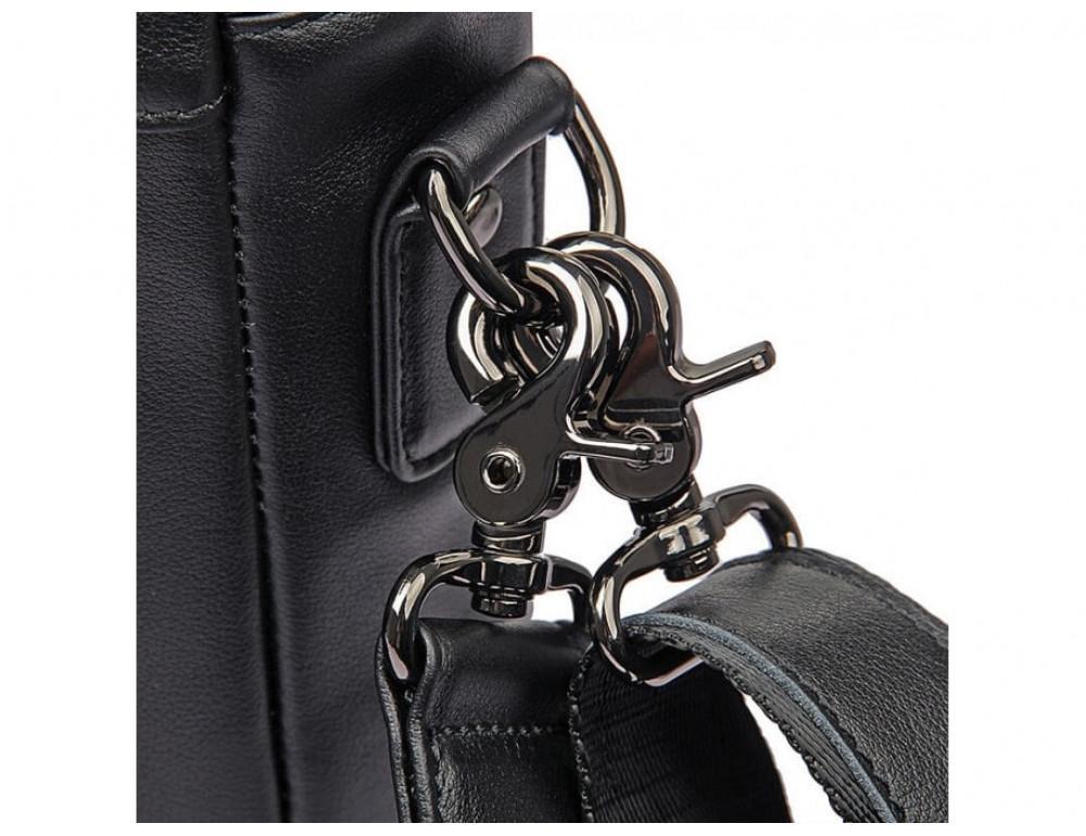Мужская кожаная сумка-мессенджер TIDING BAG 7266A чёрный - Фото № 9
