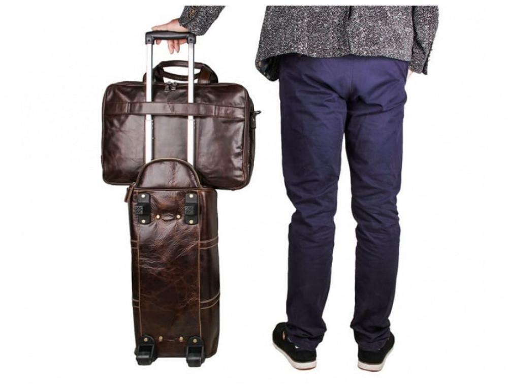 Мужская кожаная сумка TIDING BAG 7289C коричневая - Фото № 3
