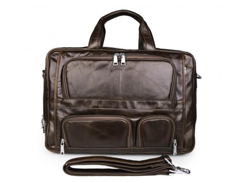 Мужская кожаная сумка TIDING BAG 7289C коричневая - Фото № 4