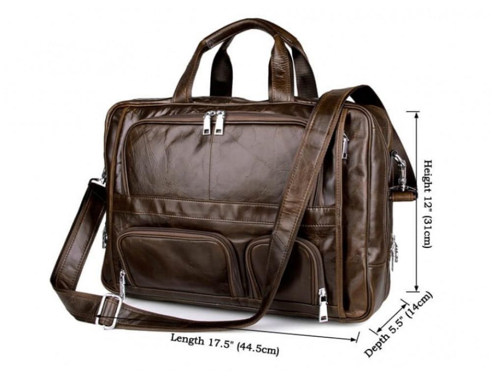 Мужская кожаная сумка TIDING BAG 7289C коричневая - Фото № 5