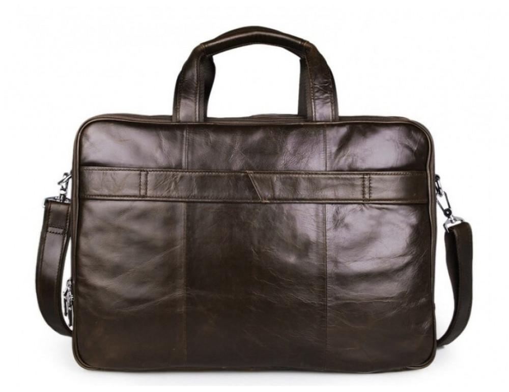 Мужская кожаная сумка TIDING BAG 7289C коричневая - Фото № 6