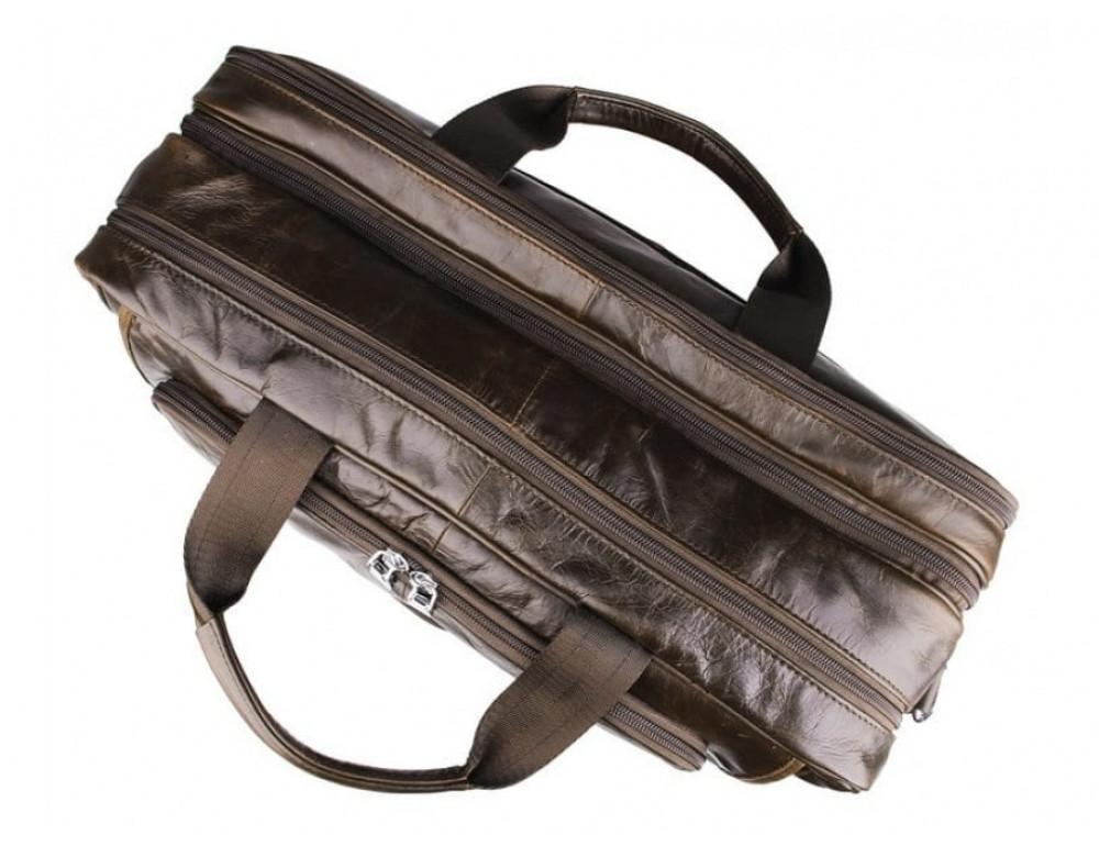 Мужская кожаная сумка TIDING BAG 7289C коричневая - Фото № 7