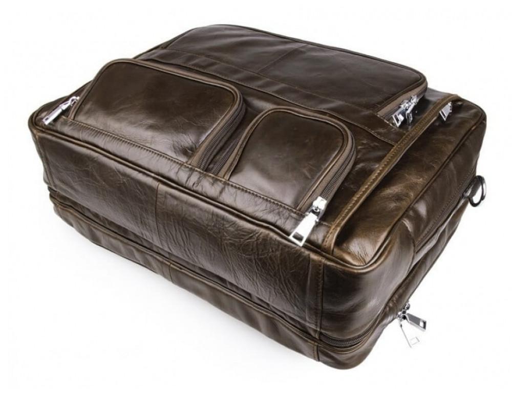 Мужская кожаная сумка TIDING BAG 7289C коричневая - Фото № 8