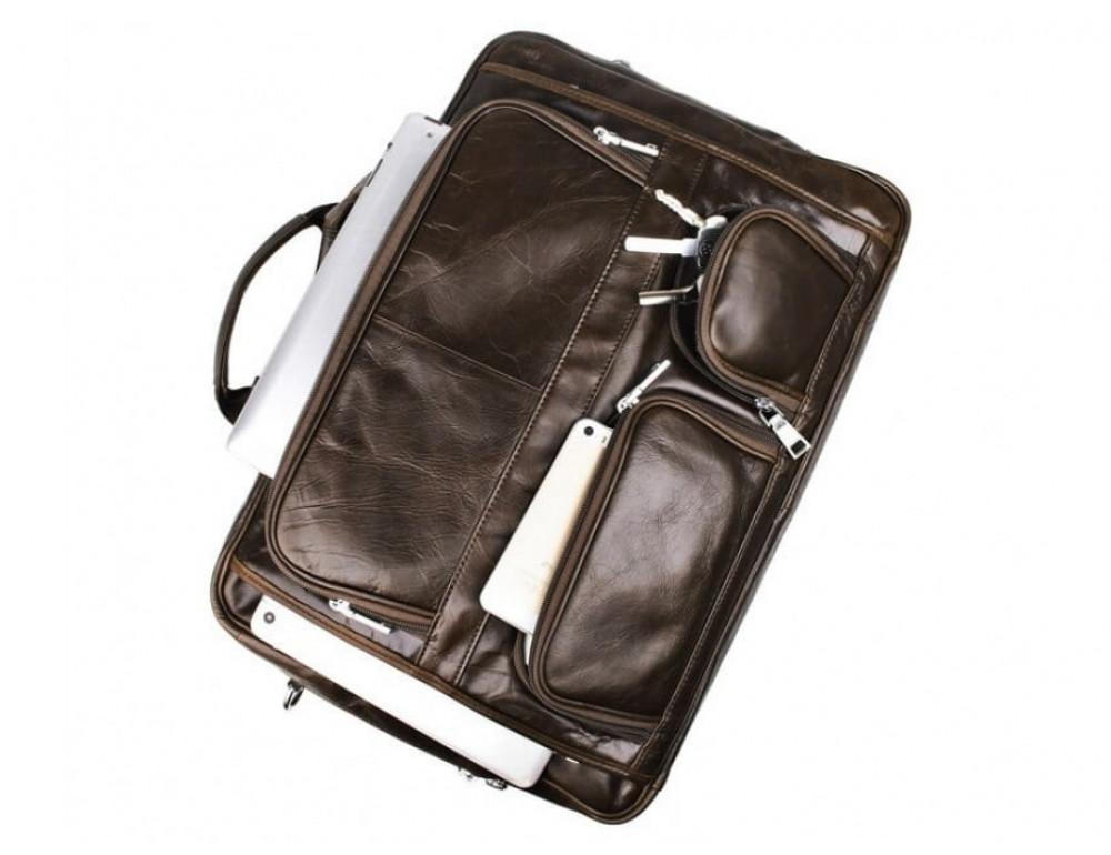 Мужская кожаная сумка TIDING BAG 7289C коричневая - Фото № 9
