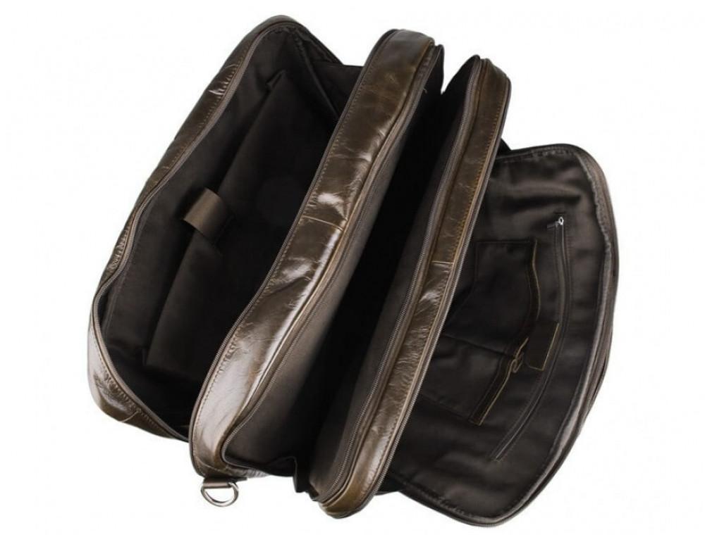 Мужская кожаная сумка TIDING BAG 7289C коричневая - Фото № 10
