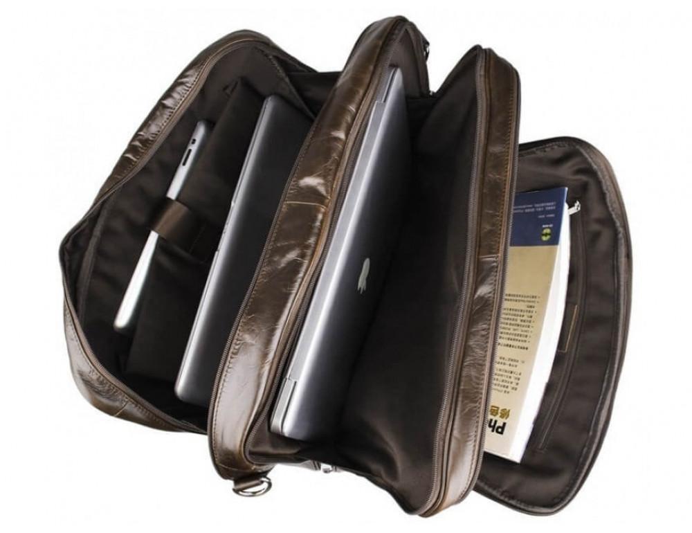 Мужская кожаная сумка TIDING BAG 7289C коричневая - Фото № 11