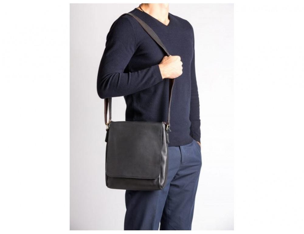 Кожаный мессенджер Tiding Bag G1157A чёрная - Фото № 2