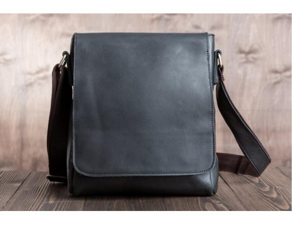 Кожаный мессенджер Tiding Bag G1157A чёрная - Фото № 3