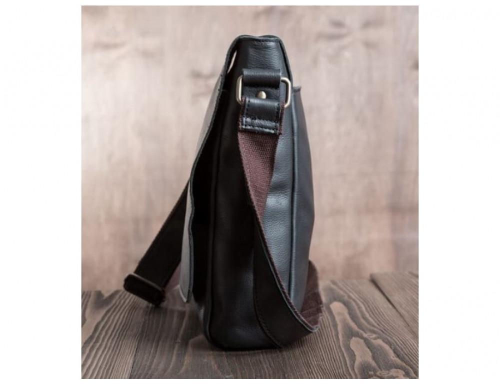 Кожаный мессенджер Tiding Bag G1157A чёрная - Фото № 4