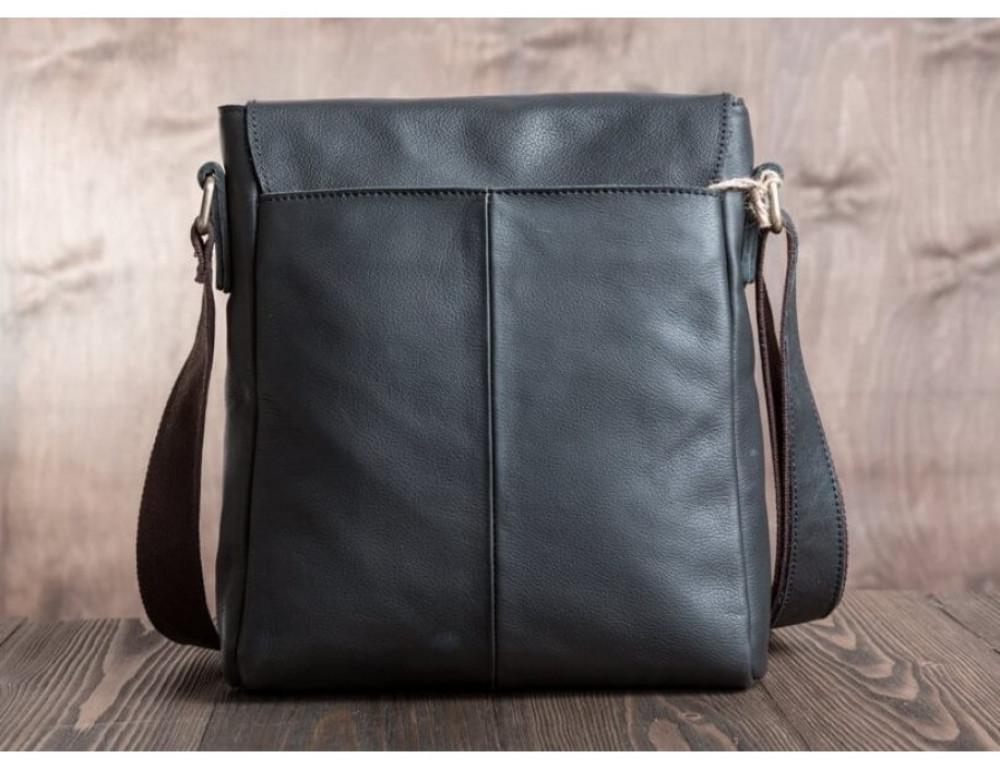 Кожаный мессенджер Tiding Bag G1157A чёрная - Фото № 5