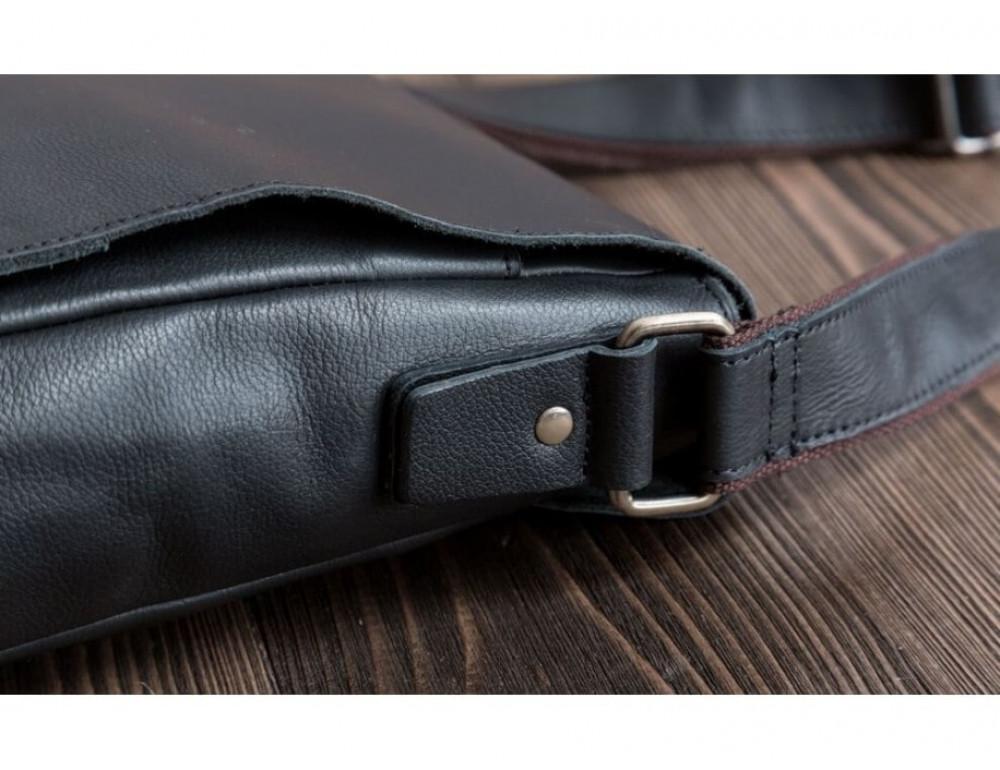 Кожаный мессенджер Tiding Bag G1157A чёрная - Фото № 7