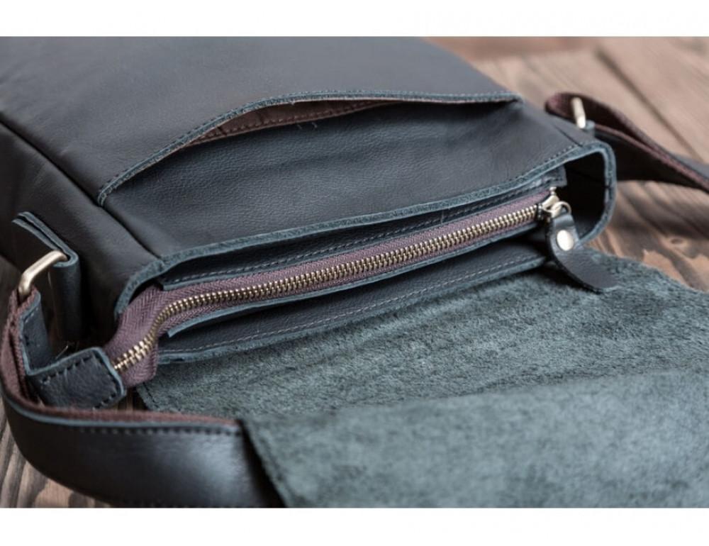 Кожаный мессенджер Tiding Bag G1157A чёрная - Фото № 8