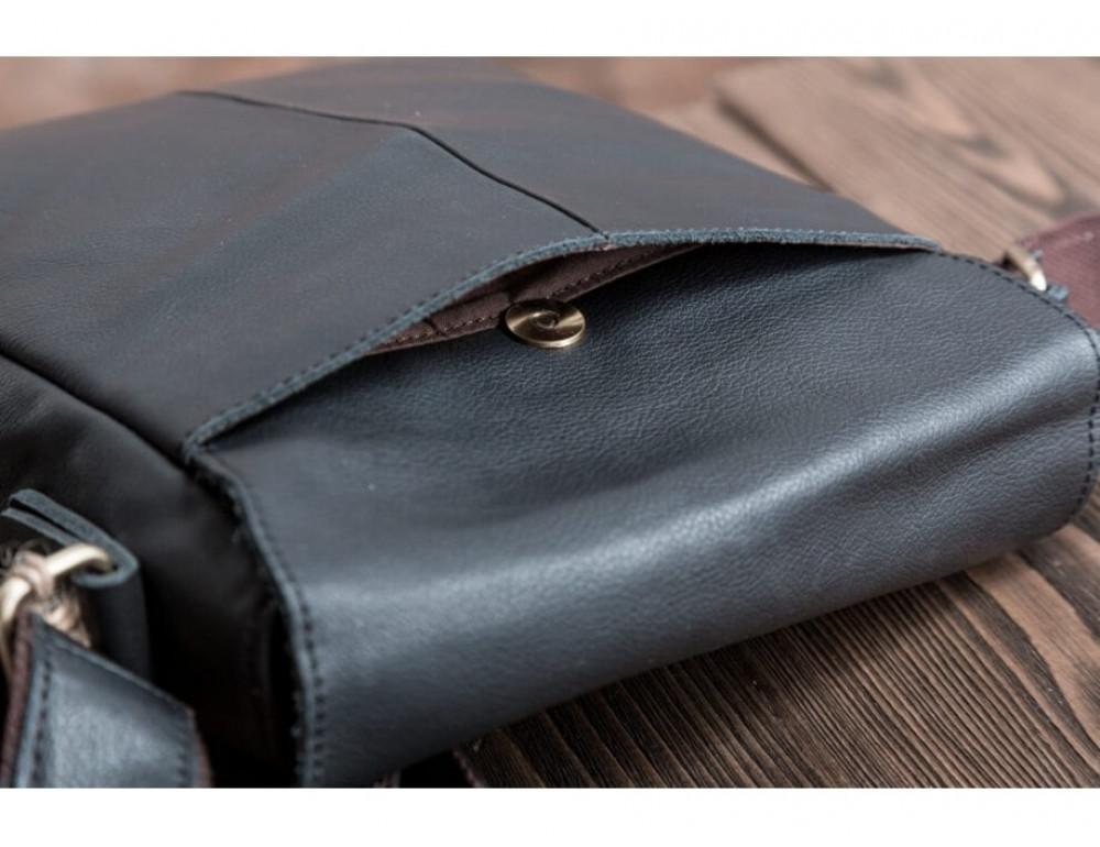Кожаный мессенджер Tiding Bag G1157A чёрная - Фото № 9