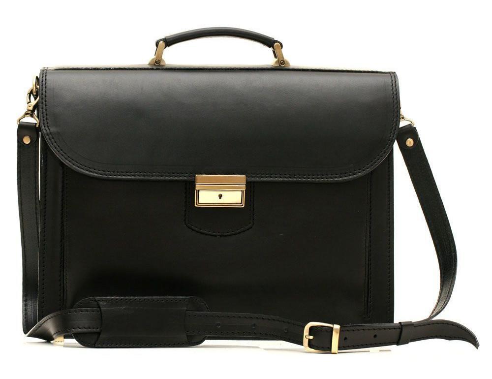 Черный портфель мужской кожаный Manufatto 12201AA