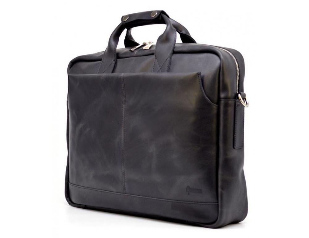 Чёрная стильная сумка под ноутбук на 17 дюймов TARWA RA-1019-4lx - Фото № 2