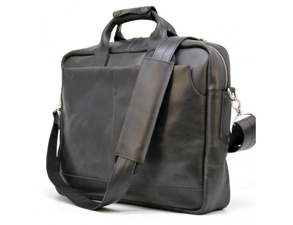 Чёрная стильная сумка под ноутбук на 17 дюймов TARWA RA-1019-4lx - Фото № 3