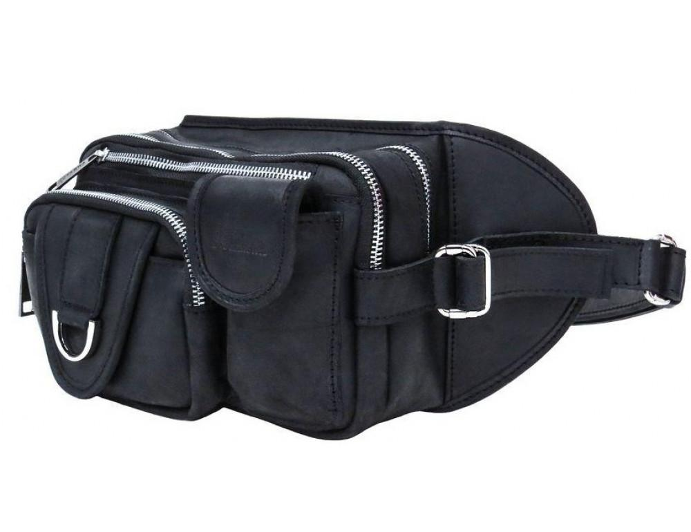 Чёрная кожаная сумка на два отделения поясная TARWA RA-1560-4lx - Фото № 1