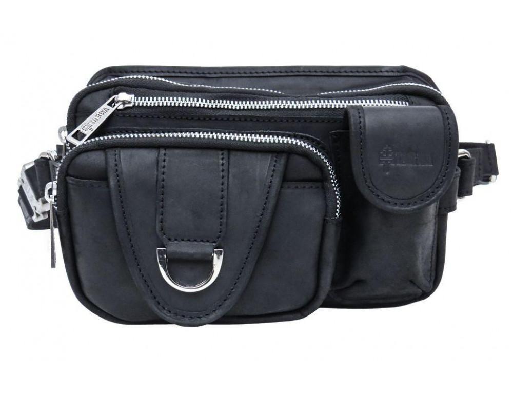 Чёрная кожаная сумка на два отделения поясная TARWA RA-1560-4lx - Фото № 3