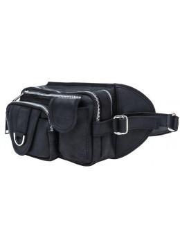 Чёрная кожаная сумка на два отделения поясная TARWA RA-1560-4lx