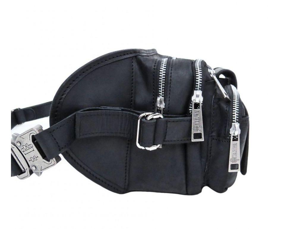 Чёрная кожаная сумка на два отделения поясная TARWA RA-1560-4lx - Фото № 4