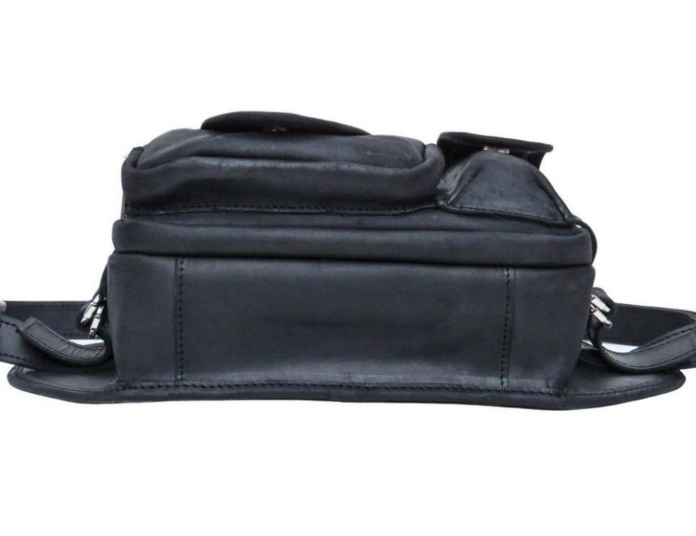 Чёрная кожаная сумка на два отделения поясная TARWA RA-1560-4lx - Фото № 5