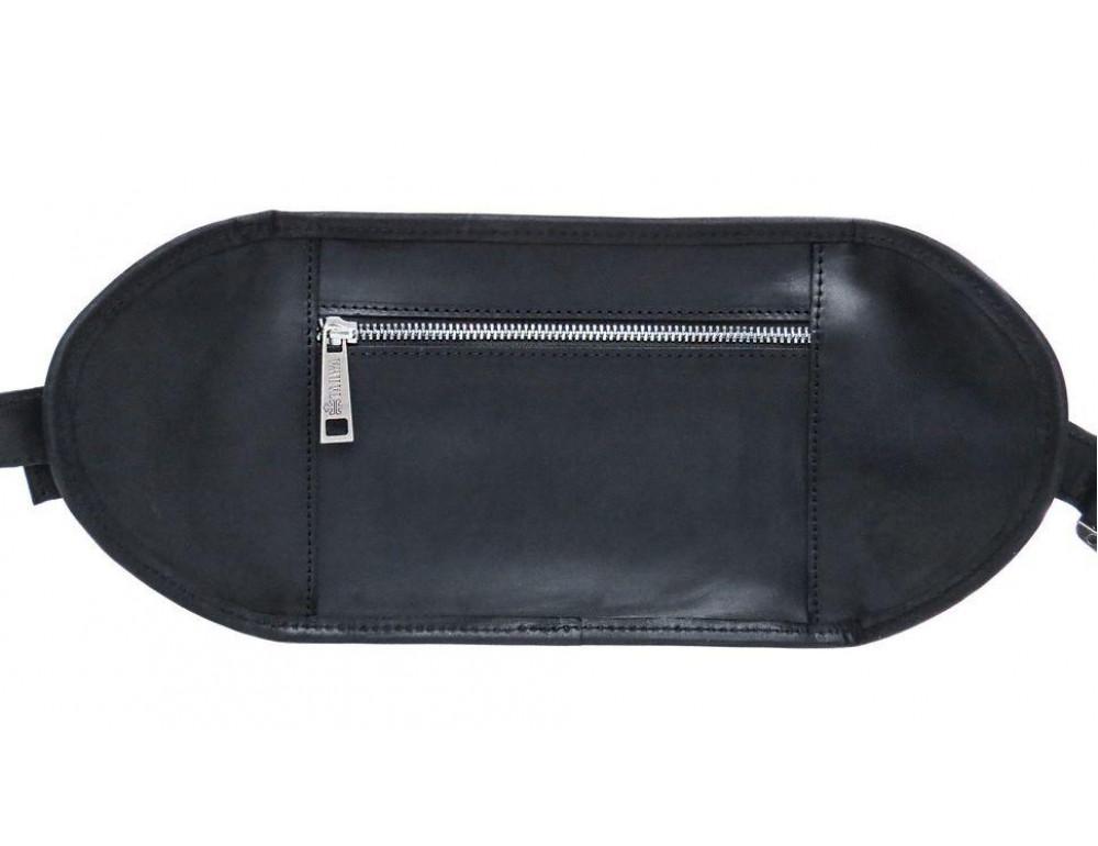 Чёрная кожаная сумка на два отделения поясная TARWA RA-1560-4lx - Фото № 6