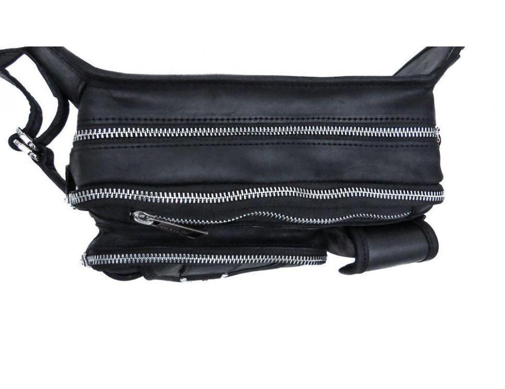 Чёрная кожаная сумка на два отделения поясная TARWA RA-1560-4lx - Фото № 7