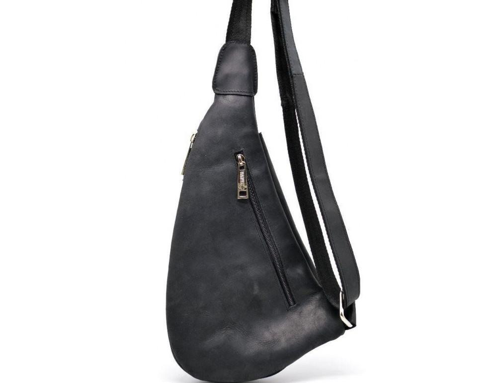 Чёрная кожаная сумка через плечо TARWA RA-3026-3md Crazy Hourse - Фото № 2