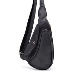 Чёрная кожаная сумка через плечо TARWA RA-3026-3md Crazy Hourse