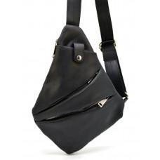 Чёрная кожаная сумка слинг TARWA RA-6402-4lx