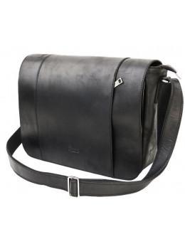 Чёрная мужская сумка через плечо из массивной кожи TARWA RA-7338-4lx