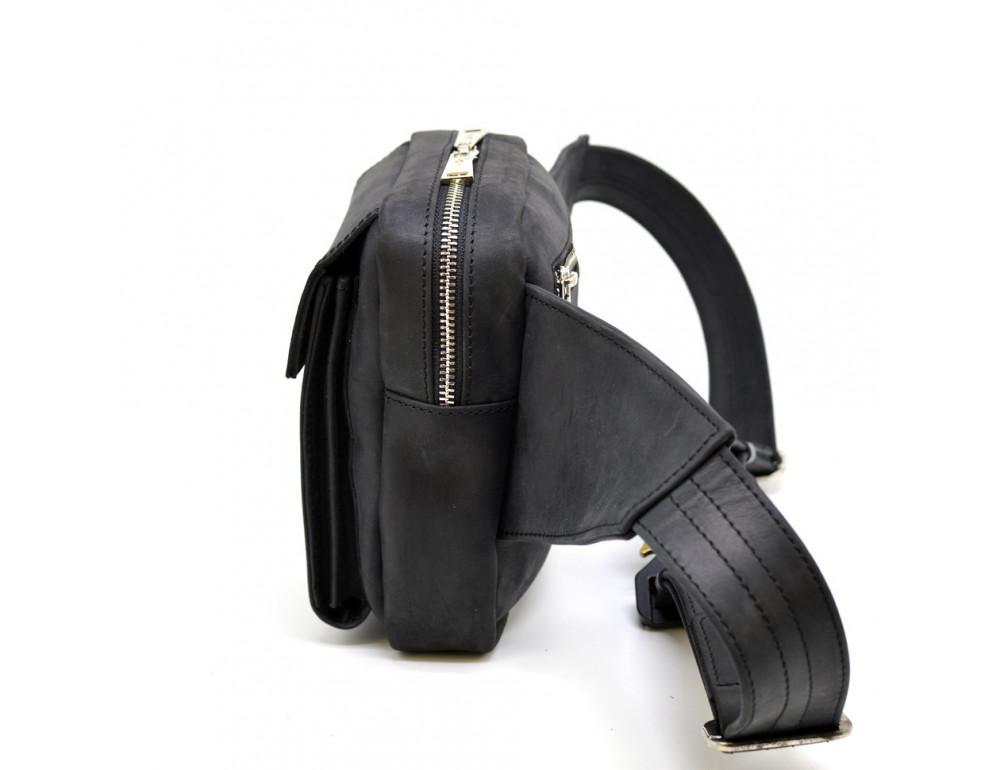 Чёрная напоясная сумка из грубой кожи TARWA RA-7777-4lx - Фото № 2