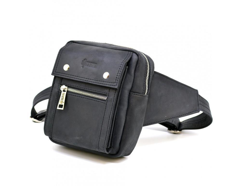 Чёрная напоясная сумка из грубой кожи TARWA RA-7777-4lx - Фото № 1