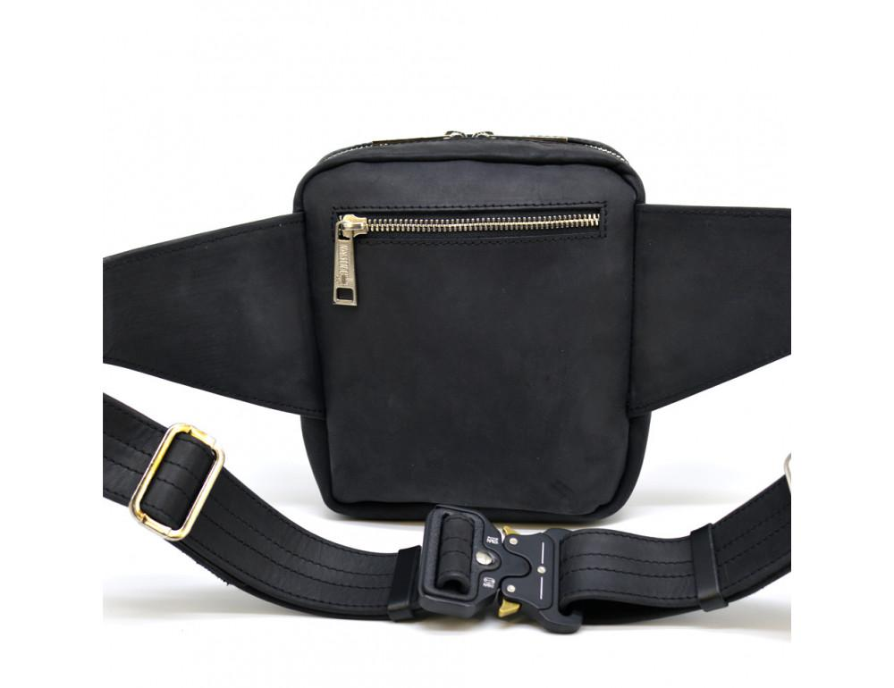 Чёрная напоясная сумка из грубой кожи TARWA RA-7777-4lx - Фото № 3