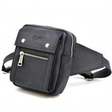 Чёрная напоясная сумка из грубой кожи TARWA RA-7777-4lx