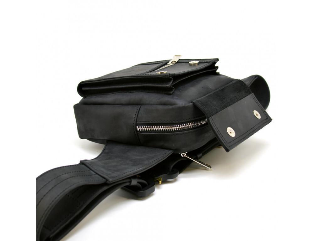 Чёрная напоясная сумка из грубой кожи TARWA RA-7777-4lx - Фото № 4