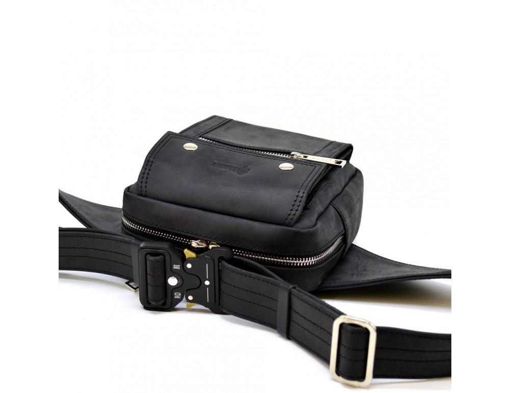 Чёрная напоясная сумка из грубой кожи TARWA RA-7777-4lx - Фото № 5