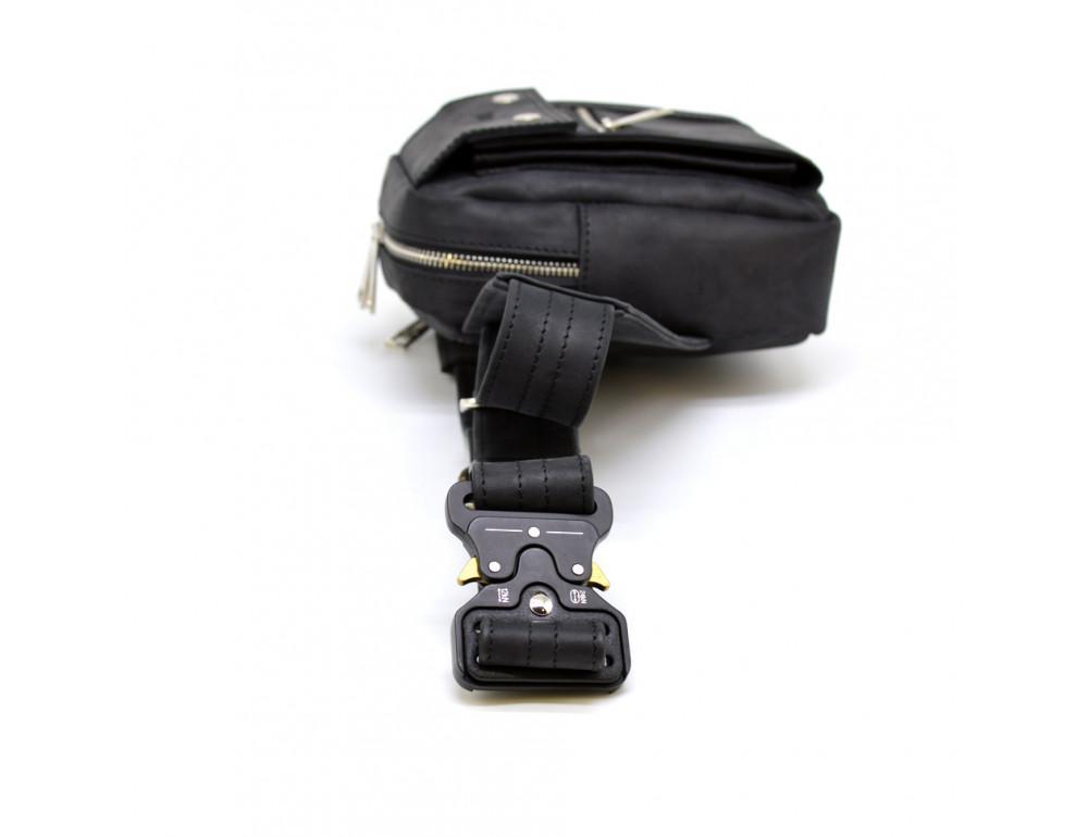 Чёрная напоясная сумка из грубой кожи TARWA RA-7777-4lx - Фото № 6