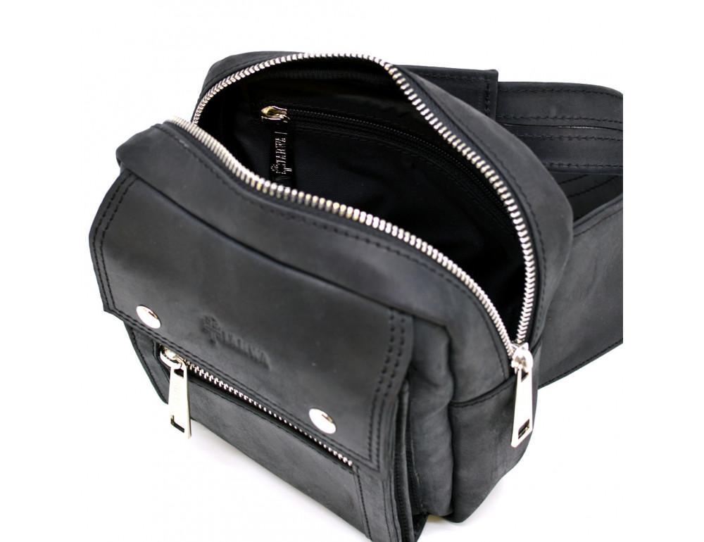 Чёрная напоясная сумка из грубой кожи TARWA RA-7777-4lx - Фото № 7