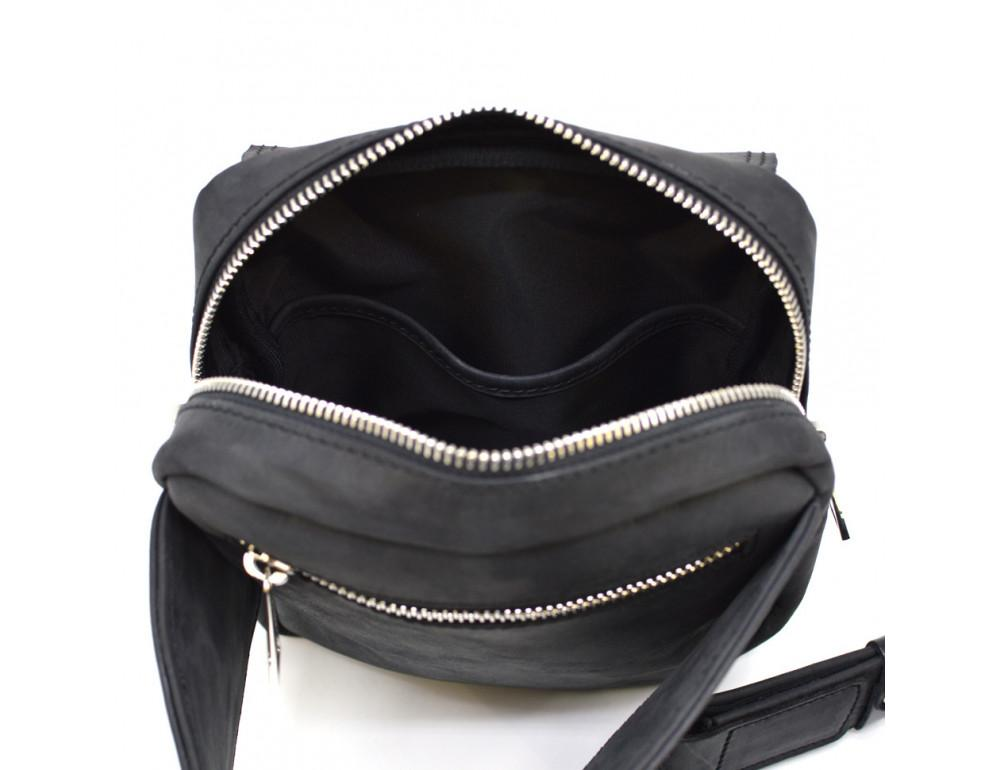 Чёрная напоясная сумка из грубой кожи TARWA RA-7777-4lx - Фото № 8