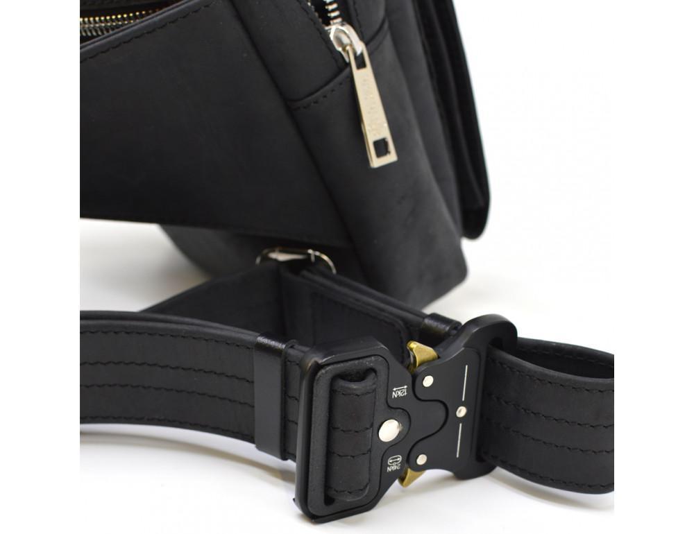 Чёрная напоясная сумка из грубой кожи TARWA RA-7777-4lx - Фото № 9