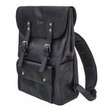 Чорний чоловічий рюкзак з кінської шкіри TARWA RA-9001