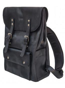 Чёрный мужской рюкзак из лошадиной кожи TARWA RA-9001